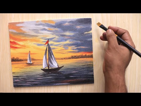 Acrylic painting of beautiful sunset sky with lonely ships