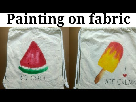 Fabric painting tutorial | Make your string bag trendy