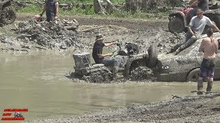 ATV'S AND A CAR MUDDING? LETS PUSH THE CAR OUT
