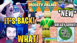 Streamers LANDING *NEW* MOISTY PALMS & Greasy Grove BACK! + *NEW* FREE SKINS! | Fortnite Highlights