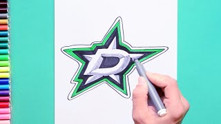 How to draw and color the Dallas Stars Logo - NHL Team Series