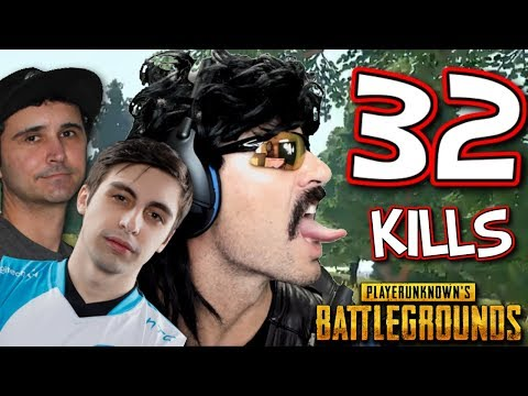 DrDisRespect's 32-KiII Squad Game on PUBG with Summit1g, Shroud, and Chad!