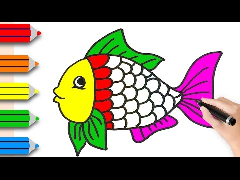 How To Drawing Fish & Coloring Pages For Kids || Learning Videos For Children