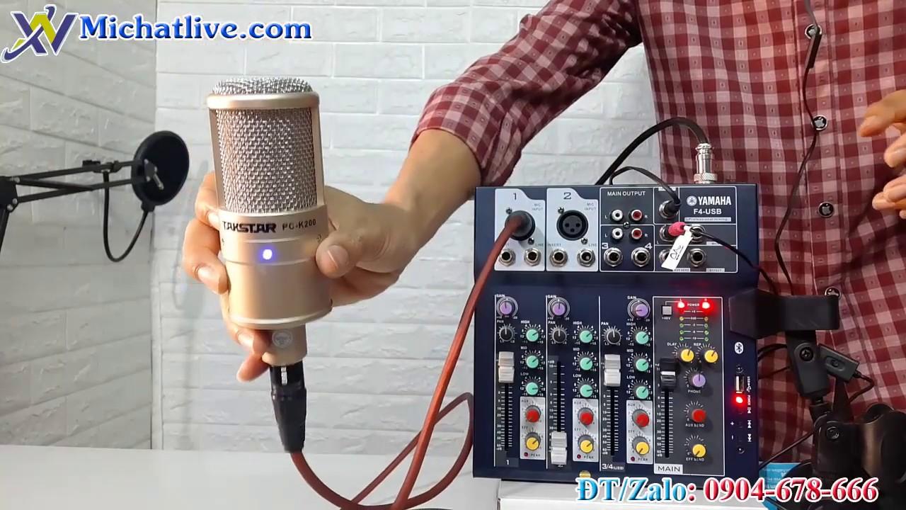 Test bộ micro livestream Mixer F4 mic PC K200