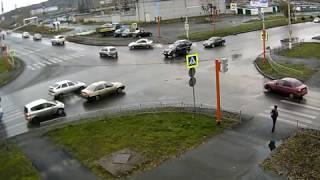 Междуреченск ДТП п. Кузнецкая-Комарова 12.10.17 07:58 #1