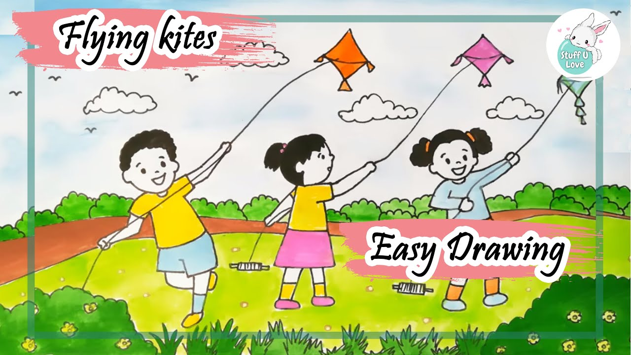 Makar Sankranti Festival Easy Kids Flying Kites Scenary Drawing For Kids