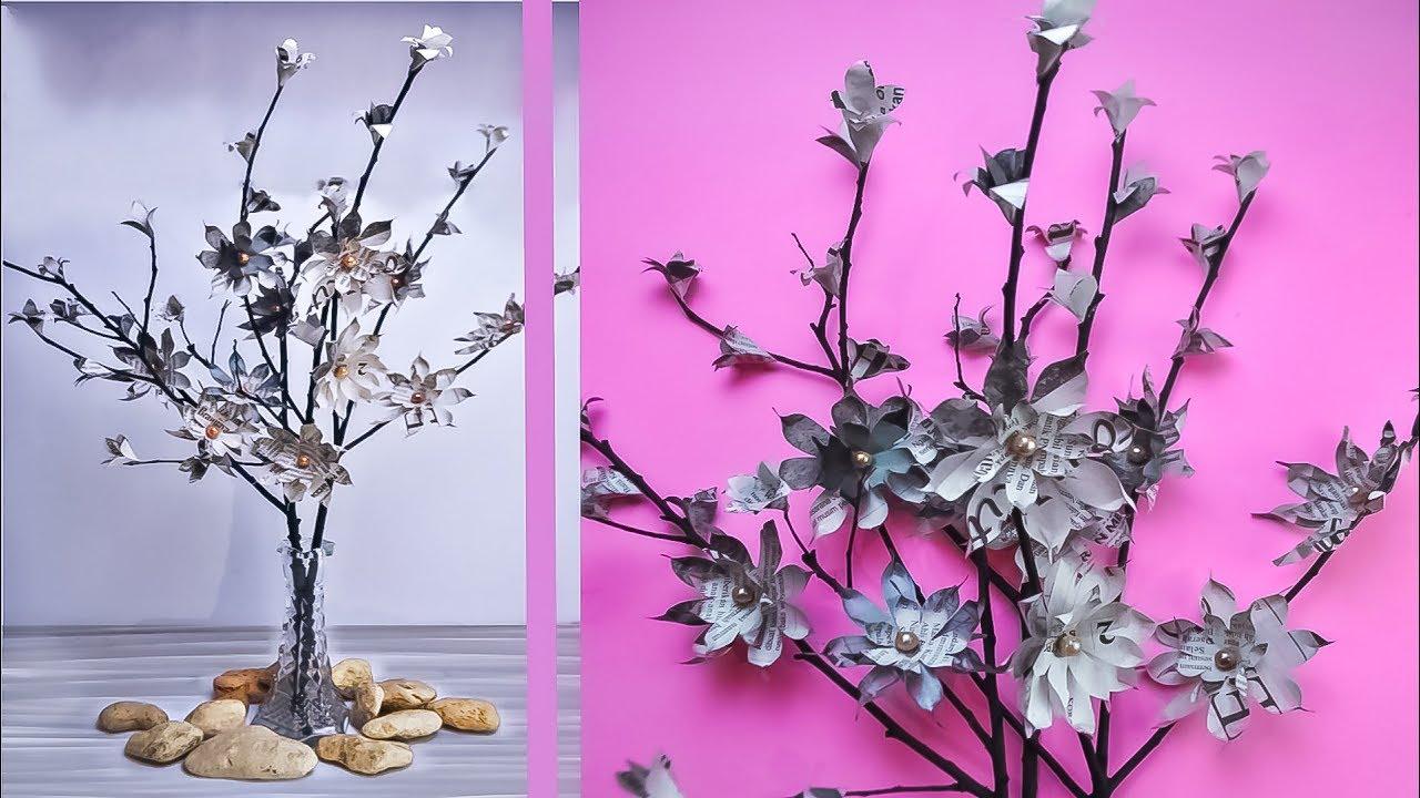 Diy Membuat Bunga Dari Koran Bekas How To Make Flowers Out Of Newspaper Waste Youtube