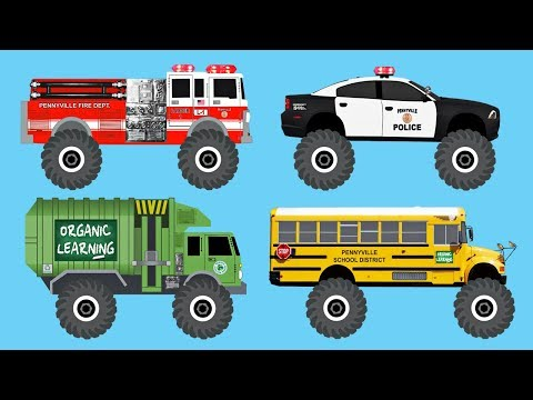 Learn 40 AWESOME Monster Trucks - Organic Learning (Fun & Educational Learning Video)