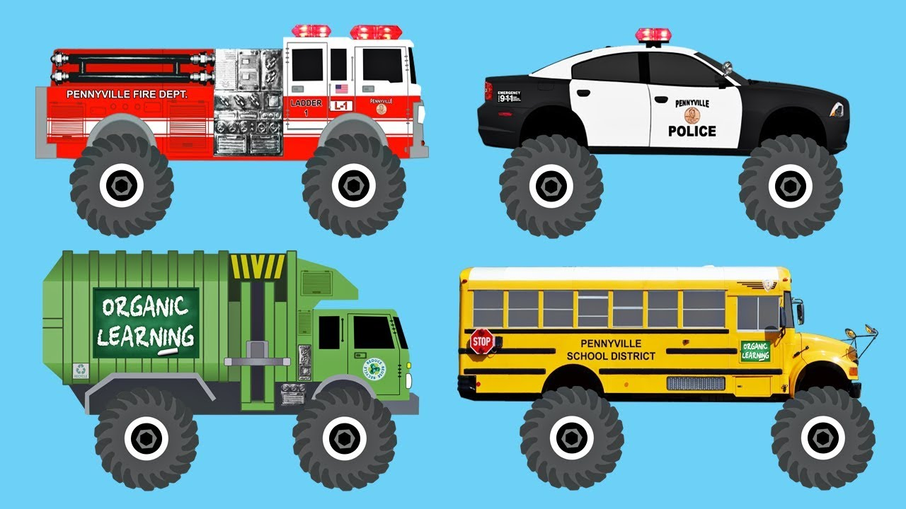 Learn 40 AWESOME Monster Trucks - Organic Learning (Fun ... on police vehicles being repaired, police lights for golf cart, police tow truck,