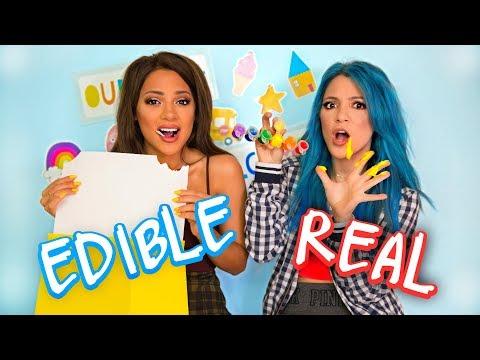 Edible School Supplies VS Real School Supplies Challenge!! Niki and Gabi