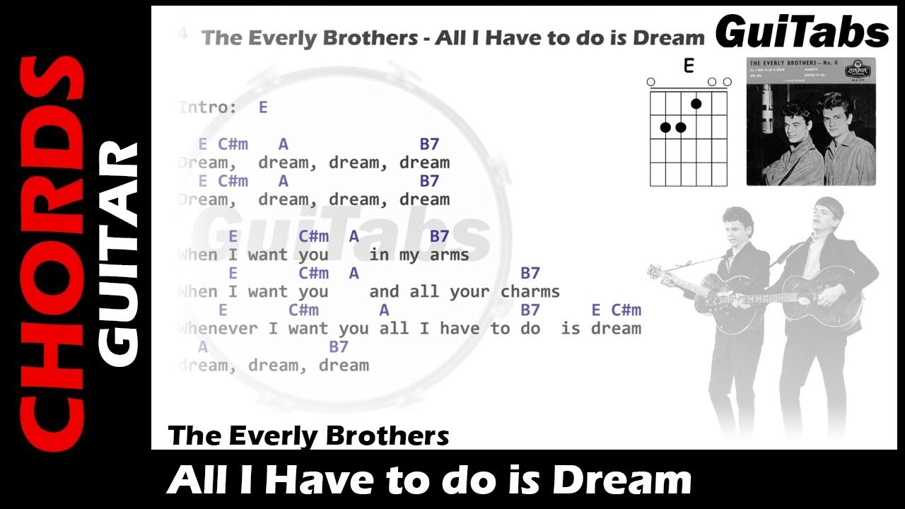 The Everly Brothers All I Have To Do Is Dream Lyrics And Guitar