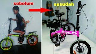 Upgrade Folding Bike 16 Inch V Brake Ke Cakram Single Speed Ke 6 Speed Youtube