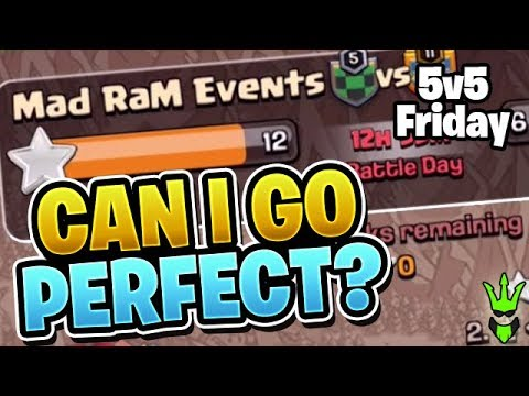 CAN I GET A PERFECT WAR BY MYSELF?! - 5v5 Friday - Clash of Clans