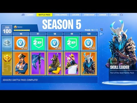 Fortnite Season 5 Battle Pass TIER 100! ALL Season 5 Battle Pass Skins Fortnite Battle Royale