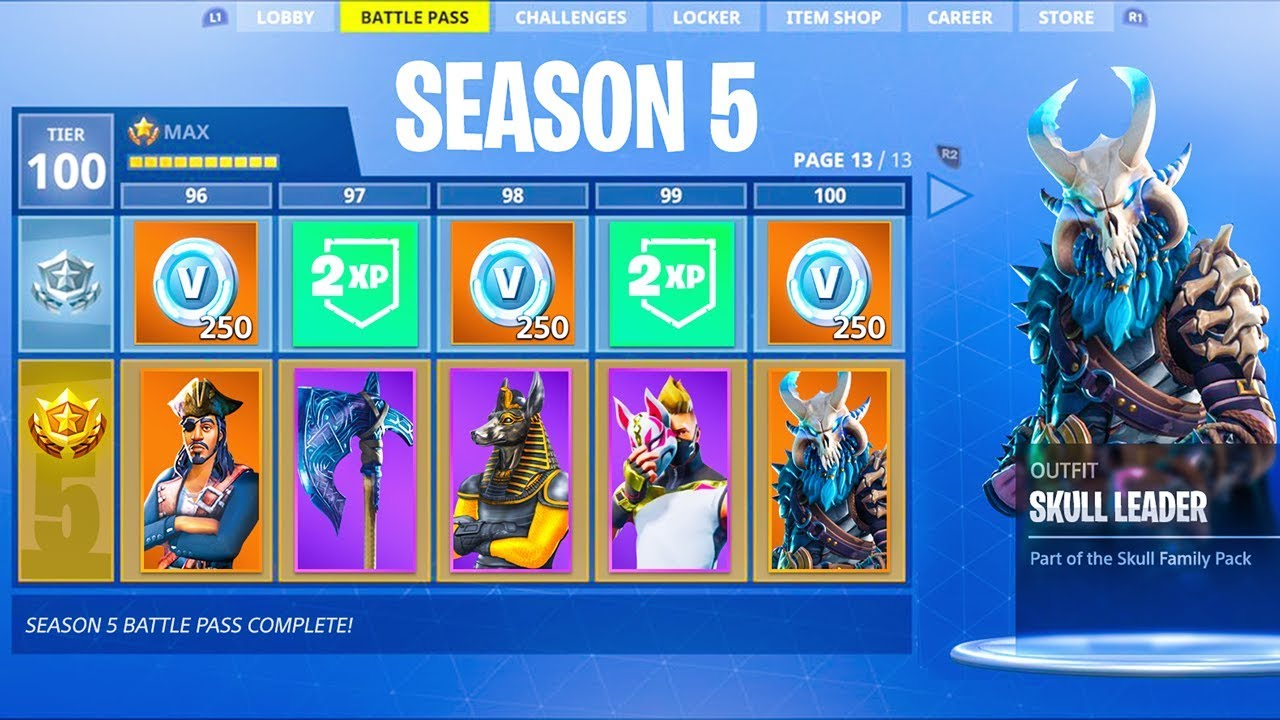 Fortnite Season 5 Battle Pass Tier 100 All Season 5 Battle Pass