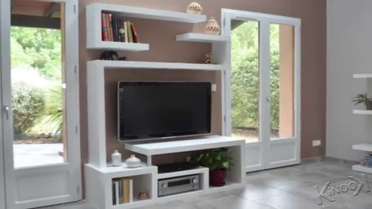 Meuble Living Tv Fabriquer Un Meuble Tv Contemporain - Youtube
