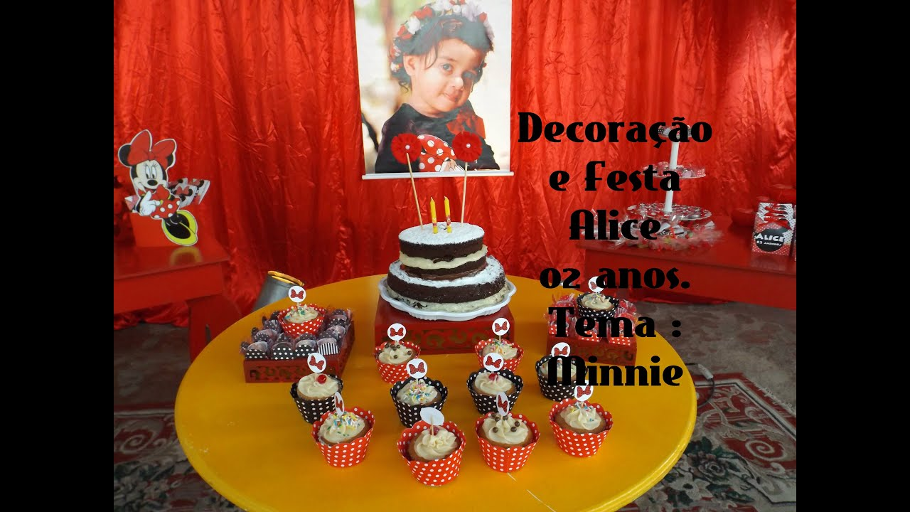 Decoracao Yotube ~ Decoraç u00e3o, festa Alice 02 anos Tema Minnie Vermelha YouTube