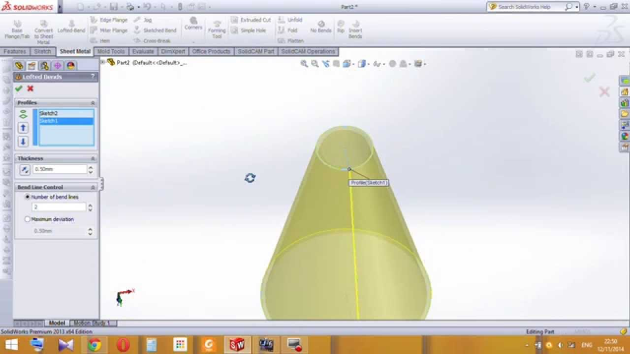 Development Cone Flat Pattern In Solidworks Sheet Metal
