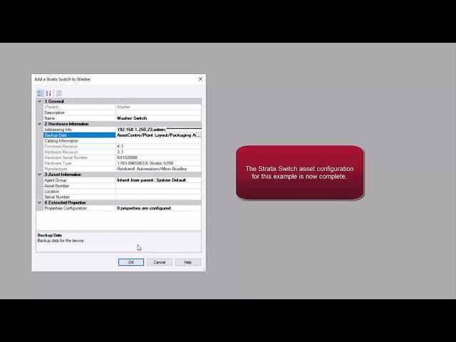 Backup a Stratix switch configuration using FactoryTalk AssetCentre