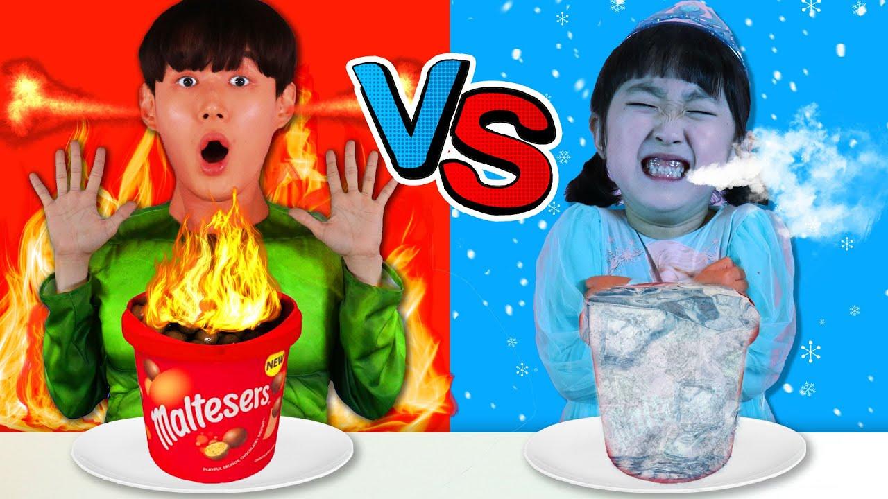 헐크 엘사 뜨거운 차가운 음식 대결!!! 챌린지 Hot VS Cold Food Challenge - 마슈토이 Mashu ToysReview
