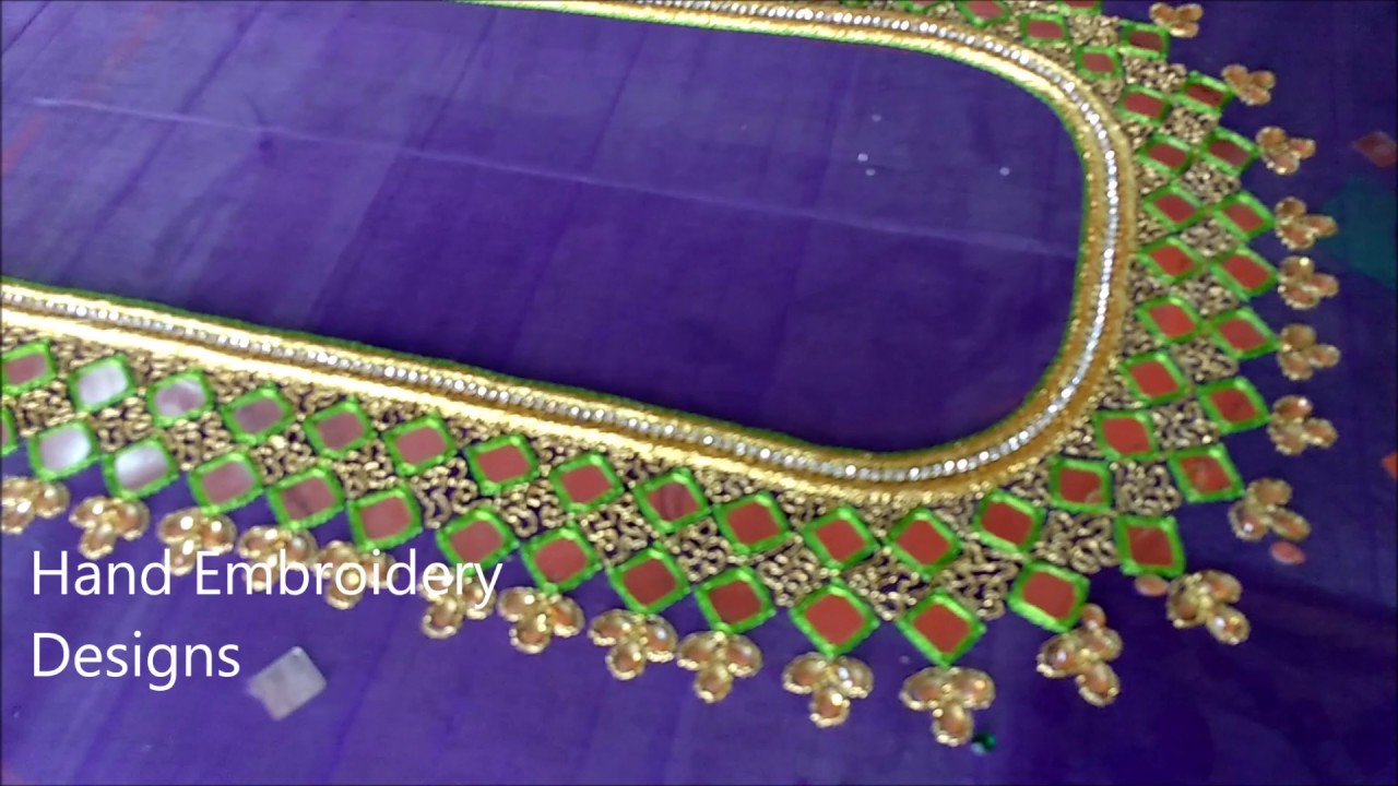 Maggam Mirror Work Blouse Designs Hand Embroidery