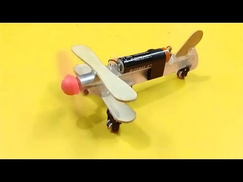 How to Make a Flying Airplane using DC Motor   Toy Wooden Plane   Core Tech