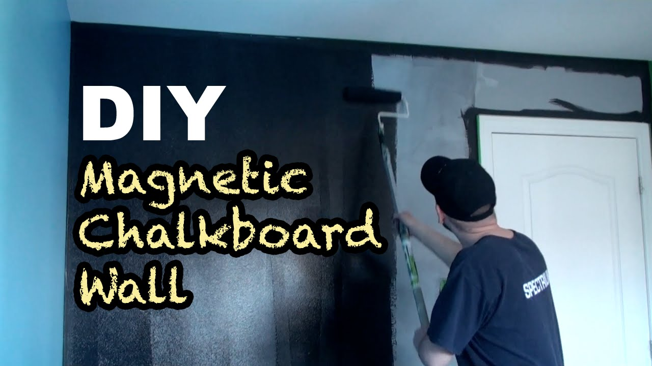 diy how to make a magnetic chalkboard wall youtube. Black Bedroom Furniture Sets. Home Design Ideas