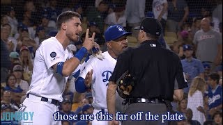 Cody Bellinger tells the ump how far off the plate the pitches were and gets ejected, a breakdown