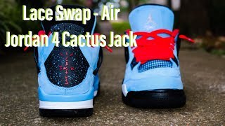 Lace Swap - Air Jordan 4 Cactus Jack - Laces via LacedUpLaces 99bac6f85