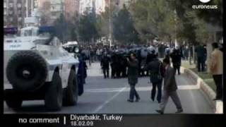 Turkey - Police and Kurdish protesters clash on 10th anniversary of capture of rebel leader