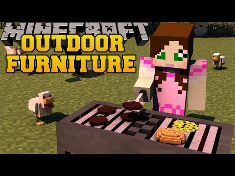 Minecraft: OUTDOOR FURNITURE (GRILL, DIVING BOARD, TRAMPOLINE, & MORE!) Mod Showcase