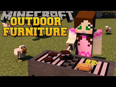 Minecraft: OUTDOOR FURNITURE (GRILL, DIVING BOARD, TRAMPOLINE, & MORE!) Mod Showcase