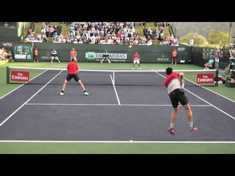 Tennis. Indian Wells. March 2016. John Isner, Milos Raonic, Mark Lopez, Feliciano Lopez. part 5
