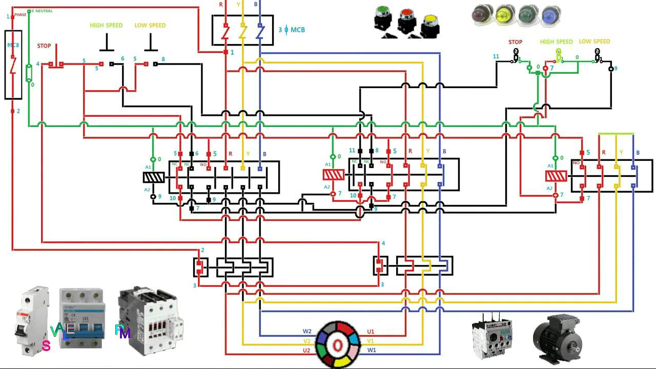 medium resolution of two speed motor starter connection and working function animation rh youtube com 6 wire 3 phase motor wiring 3 phase motor starter wiring