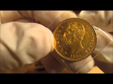 Beautiful Old Gold Italian 20 Lire from 1882!!