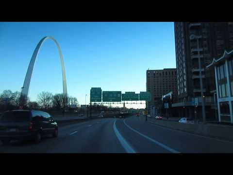 Driving in USA - St. Louis Missouri - Downtown and The Arch