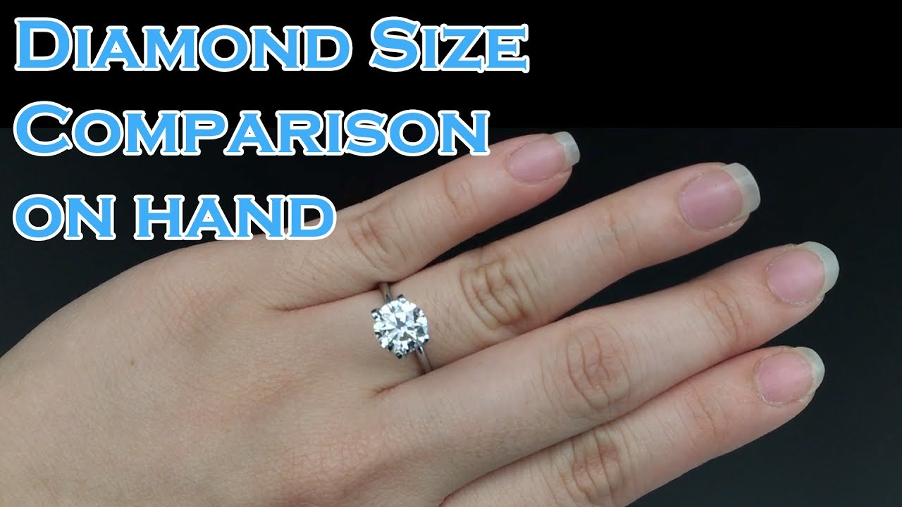 Diamond Size Comparison On Hand 0 3ct 0 4ct 0 5ct 0 6ct 0 7ct