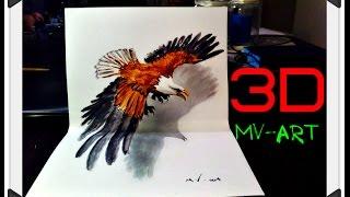 Как нарисовать акварелью 3D орла. How to draw 3D eagle watercolor(Процесс рисования орла с помощью акварели в 3D. Супер способ!!! ◘ Если тебе понравилось видео, тогда подпис..., 2016-08-05T12:27:38.000Z)