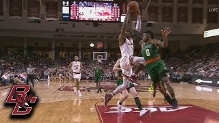 Boston College's Ky Bowman Throws It On A Rope For Jared Hamilton And The Dunk