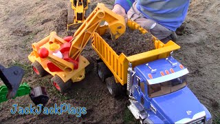 Construction for Kids: Toy Vehicles DIGGING- Excavators Bulldozer Dump Truck John Deere