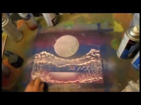 "Spray paint art by BRENT WILLIS ""MOON GLOW ON MOUNTAIN LAKE"""