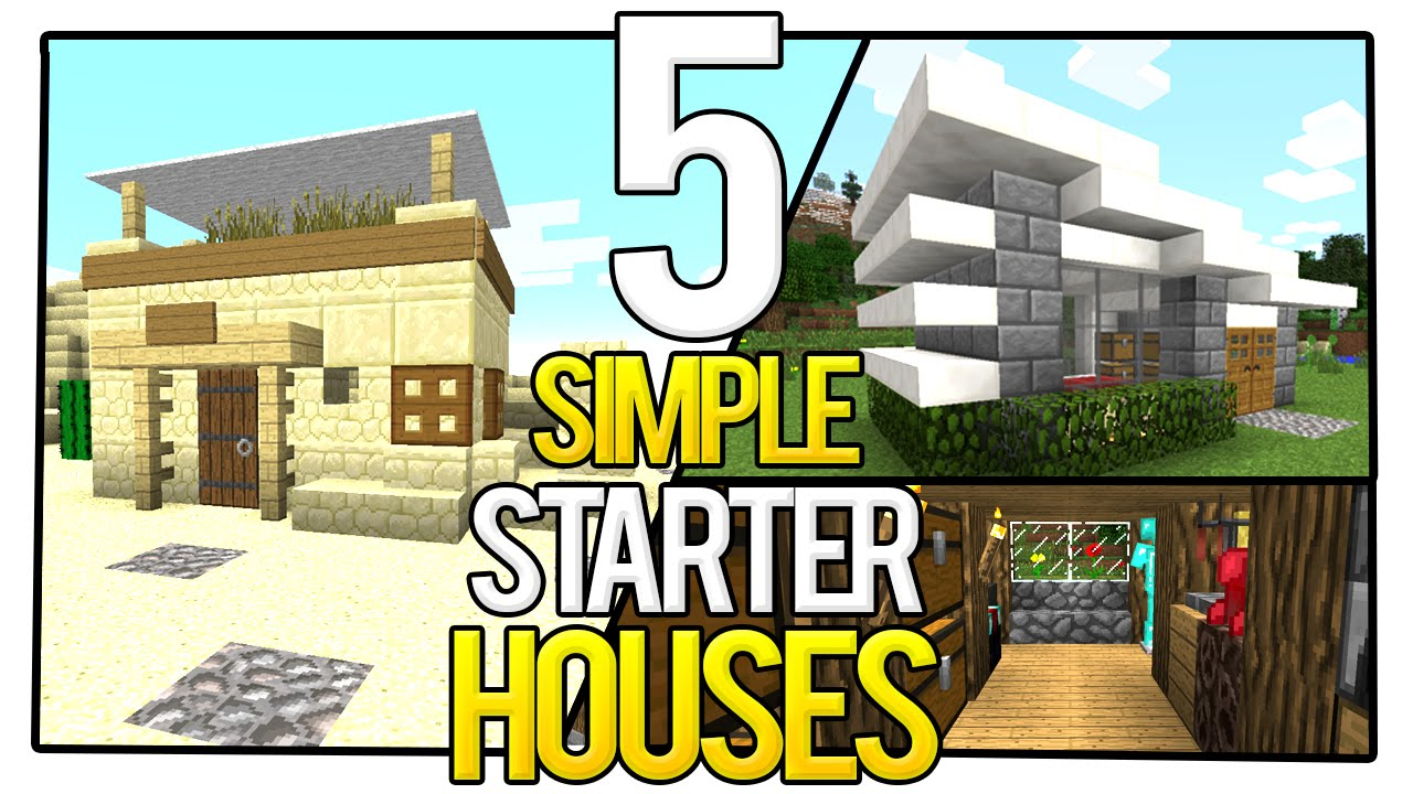 5 simple starter houses in minecraft - youtube
