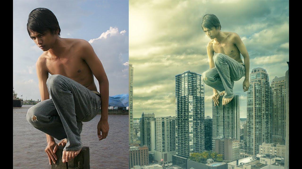 Photoshop Manipulation Photo Effects Editing Tutorials | Man on roof ...
