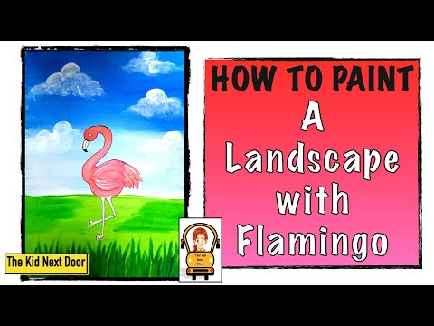EASY painting tutorial for beginners | Landscape with Flamingo | Poster colors | The Kid Next Door