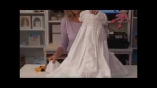 Girls Christening Gown White Cotton Classic Marie