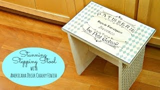 Kitchen Stool Using Chalky Finish Paint And Stencil