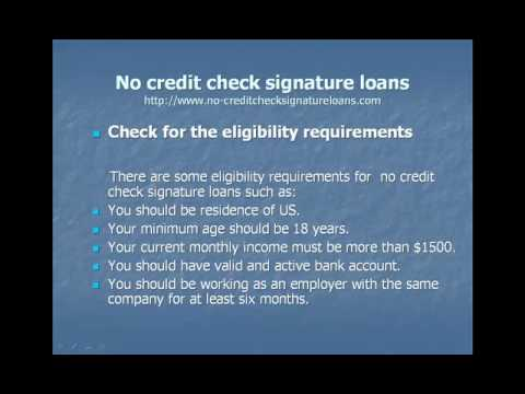How to apply no credit check signature loan - YouTube