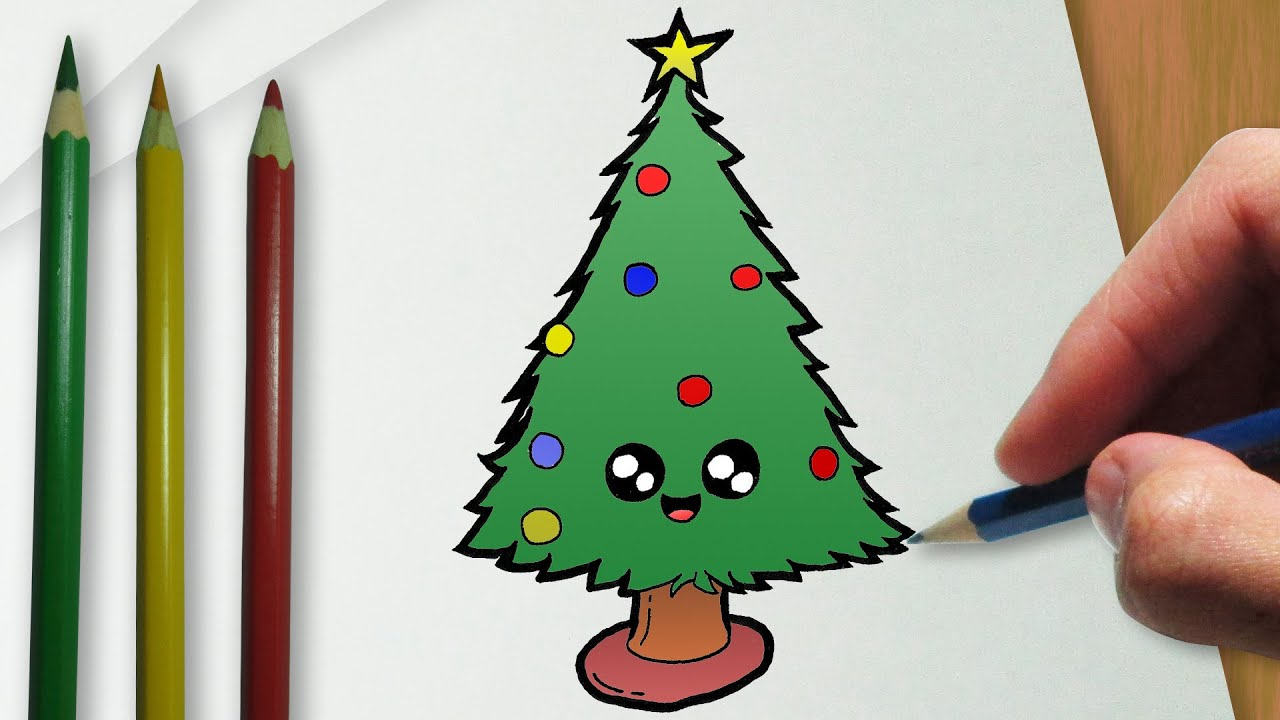 C mo dibujar un rbol de navidad del kawaii youtube for Dibujo arbol navidad