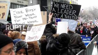USA: Pro and Anti-Trump rallies face off outside Trump Tower NYC