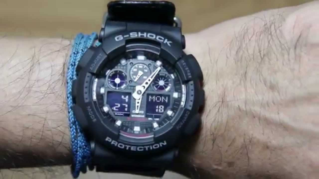 Casio G Shock Ga 100mc 1a With Cloth Leather Band Youtube